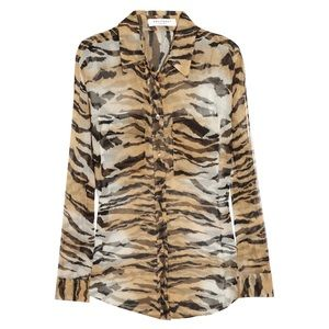 Equipment Tiger Print Sheer Long Sleeve Blouse